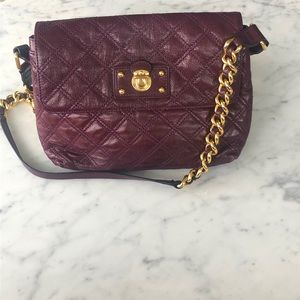 Marc Jacobs plum quilted leather shoulder purse
